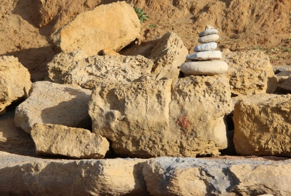Stone stacks and found art are commonplace here